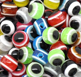 Wholesale MIC Multicolor mm Evil Eye Stripe Round Resin Spacer Beads Loose Beads Hot sell