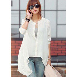 Wholesale New Western Fashion Shirt Pure Color Round Neck Cardigan Shirt Ladies Casual Shirt Irregular Shirt
