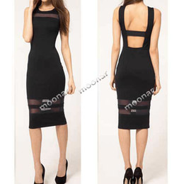 Wholesale Women Lady Slim Fit black mesh Sleeveless Backless Knee Length Hot Sale Casual Dresses E0743