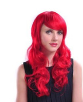 Wholesale Hot Charm Lolita Cosplay Red Long Wavy Full Wig with Heat Friendly Synthetic Fiber by AITTECH