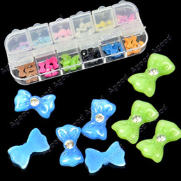Wholesale 12x5 D Glitters Bow Tie Bowtie Butterfly Acrylic Slices Rhinestones Nail Art Tips Agood