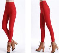 Wholesale Red Sexy high waist OL Slim Korean version new women s casual trousers pencil pants leggings