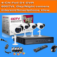 Wholesale 4CH HD cctv System Full D1 Security DVR TVL mm lens CCTV Indoor Outdoor Night Vision Surveillance camera