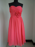 Actual Images Halter Chiffon 2012 New Sexy Cheap Strapless Flower Chiffon Knee length Sheath Cocktail Dresses NM6426