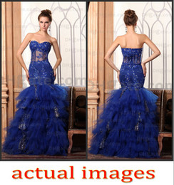 Wholesale Royal Blue Prom Dresses Sexy Sweetheart Mermaid Gowns Ruffled Tulle Appliques vening Formal Apparel