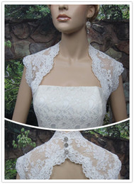Wholesale Ivory Sleeveless Bridal Shrug Lace Bolero Jacket Wedding Bolero keyhole Back Alencon Lace
