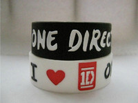 Wholesale 100pcs Hot Black White ONE DIRECTION Wide Band Bracelets D Silicone Wristbands Unisex Soft Bangle