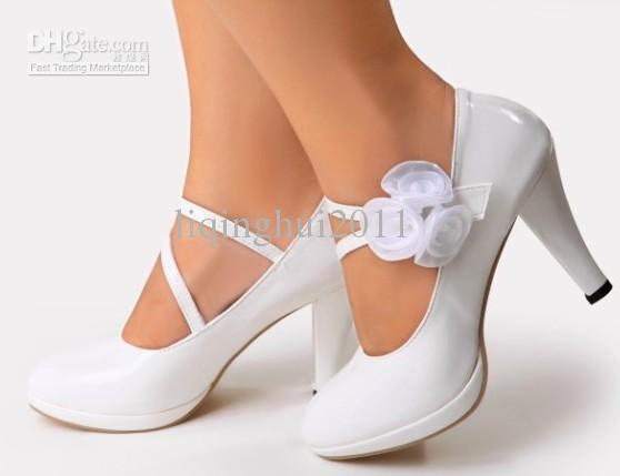 Fashion New Wedding High Heel Shoes White Waterproof Shoes ...