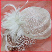Wholesale Exquisite Ivory Wedding Bridal Hats Evening Party Headwear Feather Tulle Beades Fit for cm Head