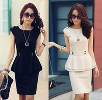 Round Knee Length A Line 2pcs Work Dress Women OL Hippie Peplum Sleeveless Top Skirt Suit Black S M L