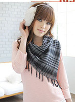 Wholesale Fashion Square Soft Wrap Scarf Grid Pattern Cotton Scarf Hot Shawl