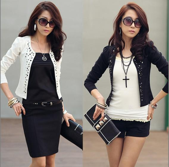 Women Coat Suit Jacket Korea Rivet Short Long Sleeve Slim Blazer