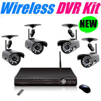 Wholesale Wireless DVR with ch wireless signal input and ch wired signal input IR cctv cameras Network DVR Camera Kit