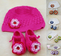Wholesale 20 OFF Handmade Crochet Baby Hat Shoes Set kids wear Christmas gift clothes set l
