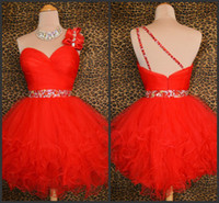Wholesale CUSTOM Sexy Red One Shoulder Tulle Short Crystals Little Homecoming Dresses Party Cocktail