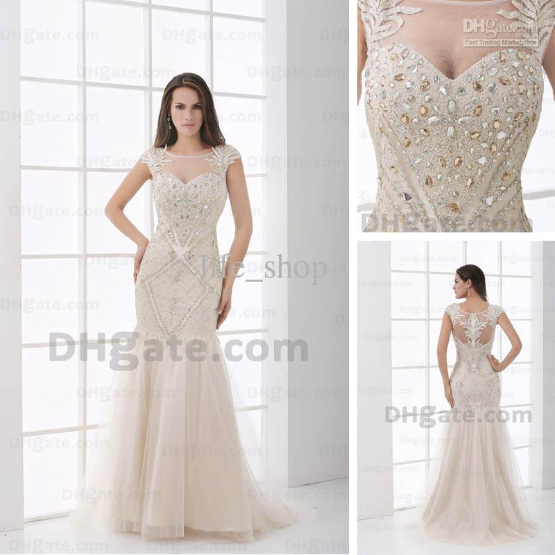 Mermaid Evening Dresses Real Actual Picture Sheer Scoop Beaded ...