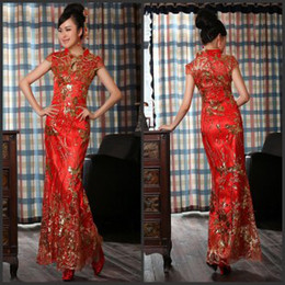 Wholesale Sparkling Sexy High Collar Sleeve Sequin Embroidery Ankle Length Red Wedding Dresses Cheongsam