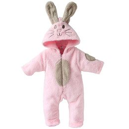 Wholesale Cute Bunny Romper pink color cotton HOt sell baby romper bodysuits infant QL58F
