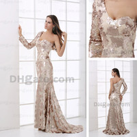 Cheap Prom Dresses One Shoulder Mermaid Fish Scale Long Sleeves Evening Dresses Gowns Real Actual Image