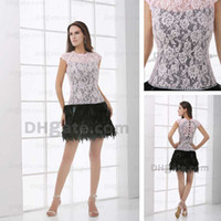 feather cocktail dress - Feather Cocktail Dresses Lace Real Image
