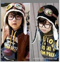 Wholesale Baby cap Pilot hat kids air force cap Popular boy winter cap Hot Children s Ear muff cap