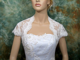 Wholesale Ivory Cap Sleeve Bridal Shrug Alencon Lace Bolero Wedding Bridal Bolero Jacket