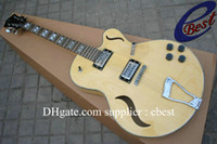 Wholesale natural jazz Hollow body Electric Guitar Abalone Binding Body made in Chinese guitar selling