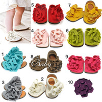 Wholesale Baby Barefoot Sandals Foot Flower Foot Ties girls crochet flower baby shoes baby shoe toddler shoe