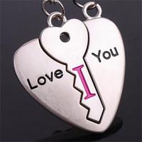 Wholesale 50pcs PR quot Love you quot Couple Lover Key Ring Pendant Keyfob Christmas gift