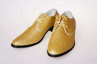 Wholesale Gold high quality Lace Leather Shoes men s wedding shoes porm shoes dress shoes