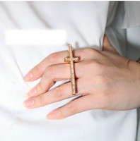 western rhinestone jewelry - western style pop jewelry rings metallic simple sense punk wind color drill cross ring