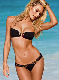 Wholesale High Fashion Swimwear Bandeau Top and Brazilian Bottom Bikini Set Sexy Swimsuit