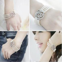 Wholesale Christmas gifts New Fashion honourable rose Multilayer pearl bracelet cuff bangle women