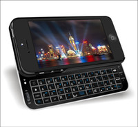 Wholesale mini Wireless Bluetooth Sliding Keyboard with case for Apple Cell Phone iphone iphone5 Black white