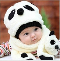 Wholesale Warn Winter New Fashion Baby Love Panda Girls Boys Wool Knit Sweater Cap Hat Muffler colors