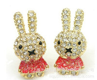 diamond earrings - 3 Colors Retro Fashion Korean Lady Cute Diamond Rabbit Earrings