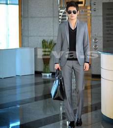 Wholesale HOT Gray Korean Casual Suit Single Breasted Suit Men Suits Bridegroom Jacket Pants Tie Dust Cover