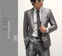 Wholesale TOP Fashion Men Suits Slim fit Set Jacket Pants Tie DustCover Groom Tuxedo Prom Suit Free Ship