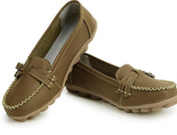 leather flat shoes - brown Mother shoe Women work shoes leather Shoes shoes flat female leisure shoes