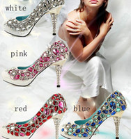 beaded evening shoes - Sparkling Diamond cm Heels Waterproof Prom Evening Party Dress Lady Bridal Wedding Shoes size34