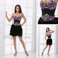 feather cocktail dress - Prom Dresses Sweetheart Mini Color Rhinestone Feather Cocktail Dresses Gowns Real Actual Image