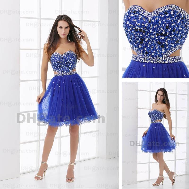 Prom Dresses Sweetheart Dark Blue Tulle Short Lovely Sexy Cocktail ...
