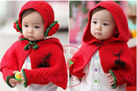 Wholesale Baby shawl Girl thick flower shoulder piece Children s capelet with cap ear gloves set set