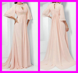 2016 Custom New Fashion Pink Elegant Beads Sequins Applique Empire Long Sleeve Chiffon Evening Gowns