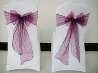 Wholesale white Spandex lycra chair covers purple organza chair sashes tie