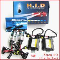 achat en gros de xénon kit caché 55w h3 mince-Xenon Hid Kit Ballast Slim 55W H1 H3 H4 H7 H8 / H9 / H11 4300K 6000k 8000K 10000K 12000K 10pcs
