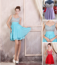 Wholesale Hot Sale Sexy spaghetti straps V neck Beaded Mini Bridesmaid Dresses Cocktail Dresses LF33
