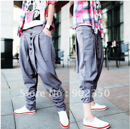 Wholesale new fashion cool men s baggy harem pants low forks hip hop trousers black grey