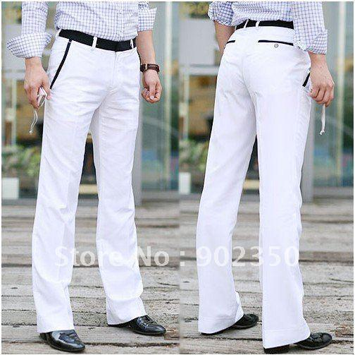 White Slim Dress Pants For Men