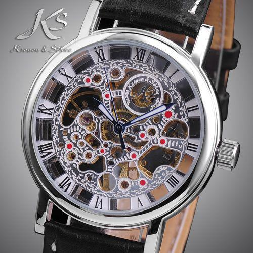 ks skeleton mechanical watch men s leather band classic leather see larger image